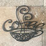 14 Inch Large Black Metal Coffee Cup Mug Scrolled Silhouette Metal Wall Art Decor Interior Decoration