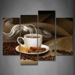 Wallart Cup of Coffee and Coffee Bean Painting Pictures Print On Canvas