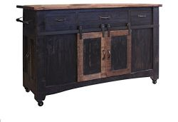 Anton Black - Burleson Solid Wood Distressed Black Sliding Barn Door Kitchen Island