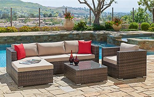 6 Peace Luxury Wicker Outdoor Sofa Sectional & Chair Set By Suncrown
