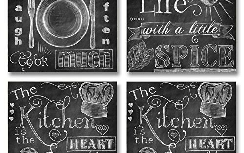 Four Chalkboard Style Kitchen Signs Paper Posters Print Look Like