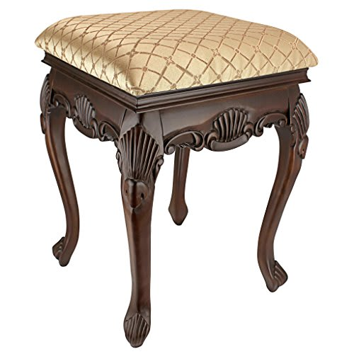 The Design Toscano KS1101 Vanity Stools - Dark Madame Bouvier Boudoir Stool will capture your attention with it's rich detail, timeless elegance, and warm Walnut finish.