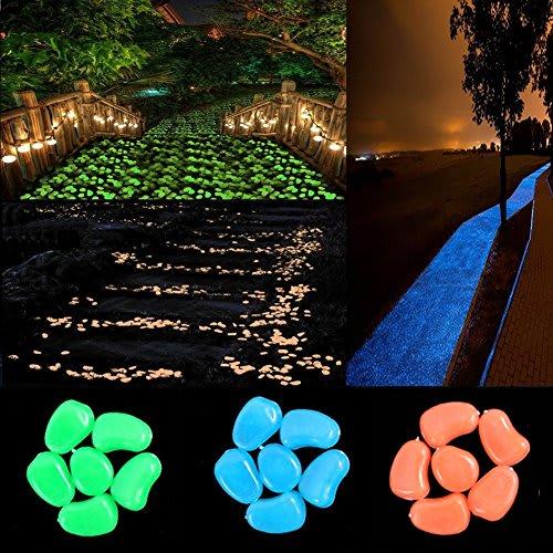 chic style 300pcs glowing stones in the Dark Pebbles Stone Garden Walkway Decor Outdoor Bulk Fish Tank Aquarium Glow Decorations Gravel Rocks (Blue Green Orange)