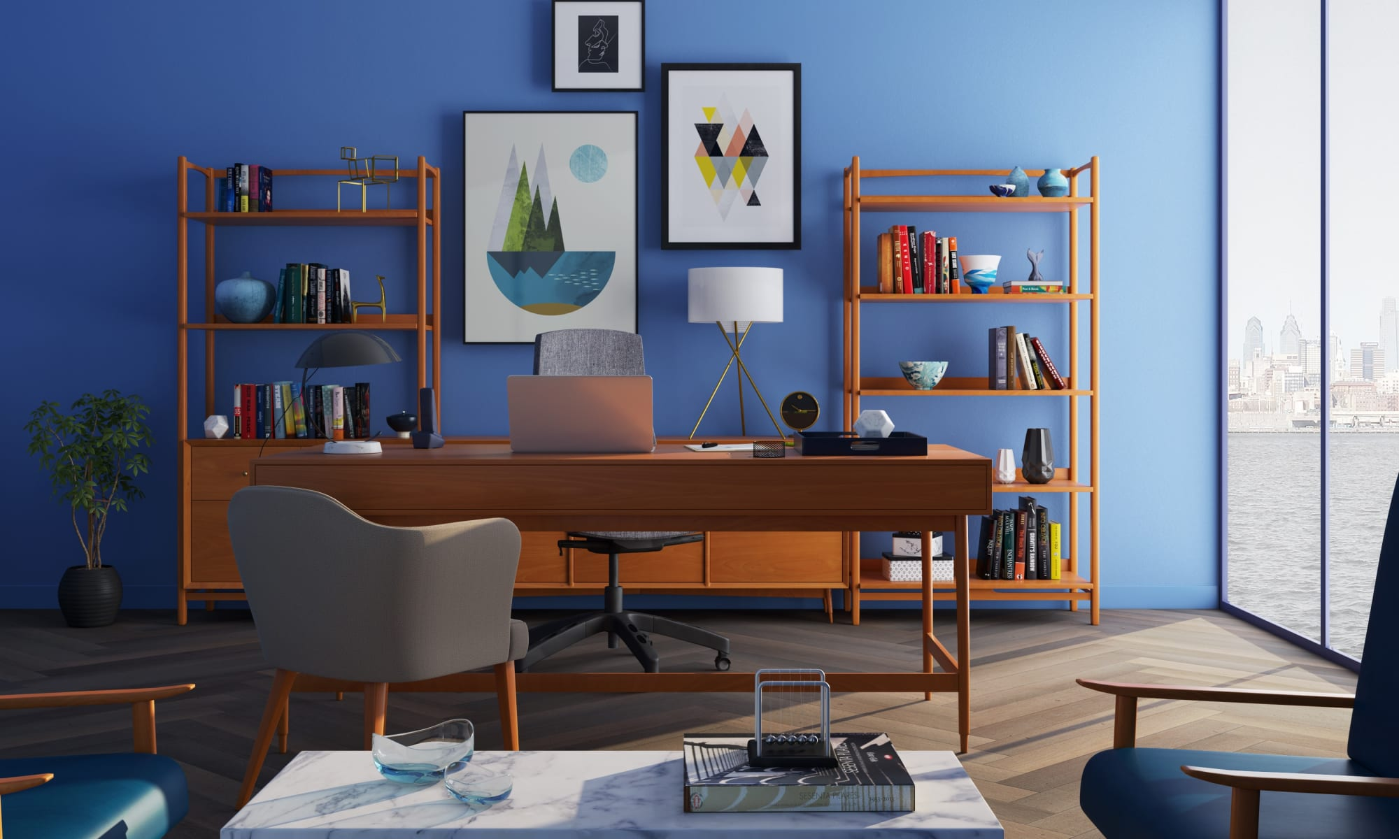 Interior Painting Tips For Beginners & Professional Paint Tips & Tricks - paint your home office in blue