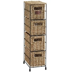 4 Tier Small Seagrass Basket Storage Tower