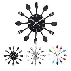 33 cm Metal Cutlery Kitchen Wall Clock - Cute kitchen decor idea by Uniquebella