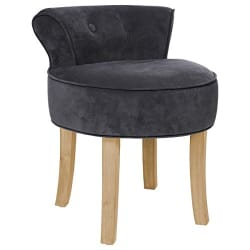 Atmosphera Velvet Look Vanity Stool In Color Dark Grey