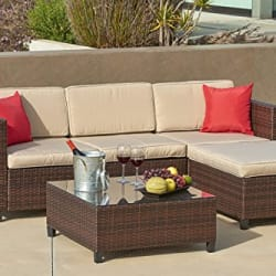 Enjoy Suncrown's versatile 5-Piece sofa set w/ crushing's & glass table-top. For luxury outdoor living in an indoor feel. Waterproof cover included!
