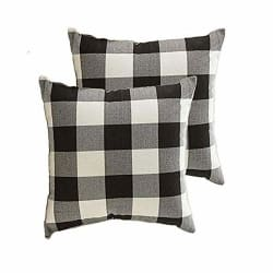 2-Xelparuc Throw Pillow Cover 18x18 inch, B&W Checkers