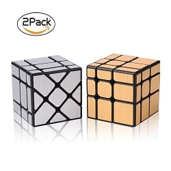 Discover the ROXENDA Magic Speed Mirror S Cube It is a 2 piece set of one Gold Mirror S Cube and one Silver Windmirror Cube. The puzzel is in the irregular size cubes. This type of Speed cubing  make the 3x3x3 Speed Cube a Twisty Box Puzzle Fun.