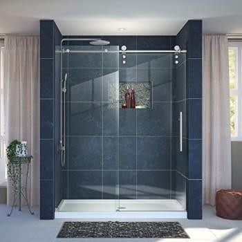 #1 DreamLine Enigma-X Shower Door (Brushed Stainless Steel)
