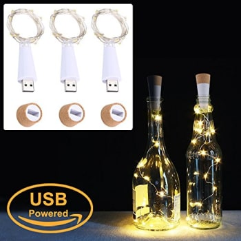 These rechargeable by using a USB DC5V port. 20 minutes charging 8 hours lighting. Order 20 LED Cork Bottle Lights   New Party Decor @ THD