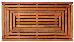 """Solid Teak Wood Shower Mat - 35.5""""x19.75"""" Bare Decor Giza Shower Door Mat - Solid Teak Wood In a Oiled Finish"""