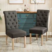 2Piece of Habit Solid Wood Tufted Parsons Dining Chairs By Round Hill Furniture