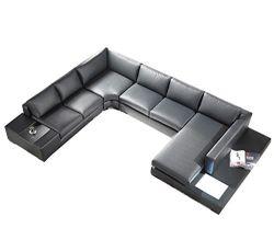 T35 Black Bonded Leather Sofa