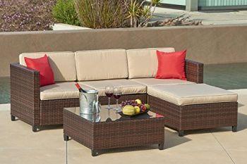 Suncrown Outdoor Furniture Sectional Sofa (5-Piece Set ...