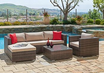 6-Piece Wicker Sectional Sofa & Chair Set