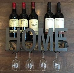 Soduku Wall Mounted Metal Wine Rack & 4 Long Stem Glass Holder Wine Cork Storage