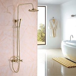 Rozin Gold Polished Rainfall Shower Mixer Faucet Set with Handheld Spray