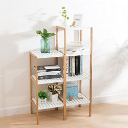 Ollieroo Bathroom Bamboo Utility Shelving Rack - Multi Functional 4 Tier Design - Bathroom Bamboo Utility Shelve Rack Multi-Functional Design By Ollieroo