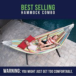 Double Hammock Vivere Double uhsdo9 20 & Space-Saving Steel Stand, Tropical Style