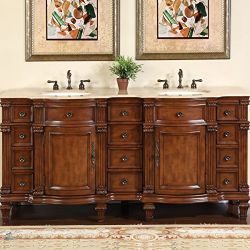 72 Inch Silkroad Travertine Stone Top Double Sink Bath Vanity