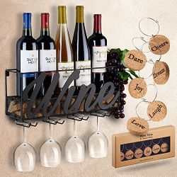 Wall Mounted Wine Bottle & Glass Holder Rack: Kitchen Decor Rack Designed by Anna Stay