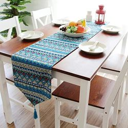 yazi-Table-Runner-Cotton-Linen-Kitchen-Sofa-Decoration-Tassel-Bohemia-Blue