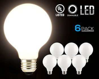 LED Bulbs Wholesale Rates - TORCHSTAR-LED-Dimmable-G25-Globe-Light-Bulbs-5W-60W-Equiv-360-Glowing-Frosted-Glass-Lens-for-Decorative-Warm-White-Ambiance-Pro-Incandescent-Replacement-Pack-of-6-0