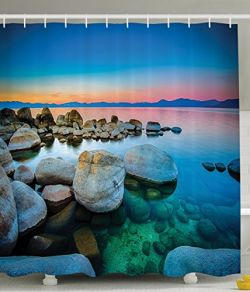 Ambesonne-Lake-Tahoe-California-America-Decor-Collection-Vibrant-Seascape-Beach-Stones-Sunset-View-Water-Reflection-Polyester-Fabric-Bathroom-Shower-Curtain-Set-with-Hooks-Blue-Orange-Green-