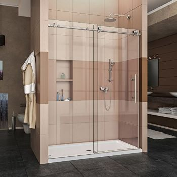 DreamLine Enigma-X , Go for the streamlined look. And the urban style of the ENIGMA-X frameless sliding shower door. With the coordinating SlimLine shower base for your bathroom renovation. - DreamLine Enigma X - Designer-Shower Doors