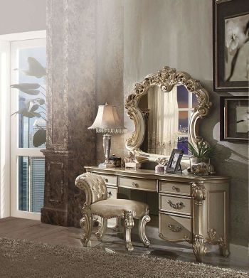 Inland Empire Furniture Riva Gold Vanity With Stool