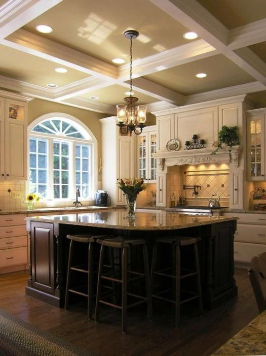 Good example for darker ceilings in kitchens - white trim really pops