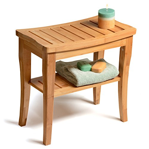 Bamboo Shower Seat Bench with Storage Shelf for Seating, Support & Relaxation, Spa Bath Bench Stool Indoor & Outdoor Use by Bambüsi ? Teak Bathroom Bench