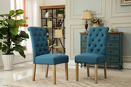 Habit Tan Solid Wood Tufted Parsons Dining Chair