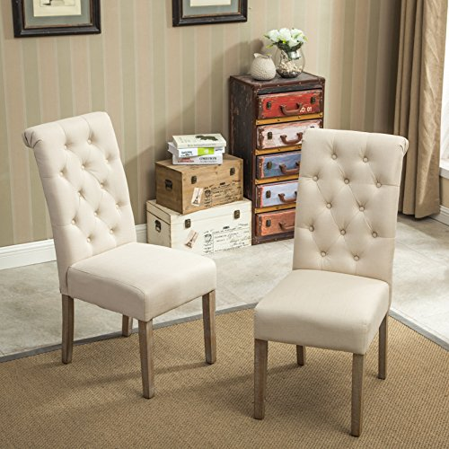 Tan Roundhill-Furniture-Habit-Solid-Wood-Tufted-Parsons-Dining-Chair