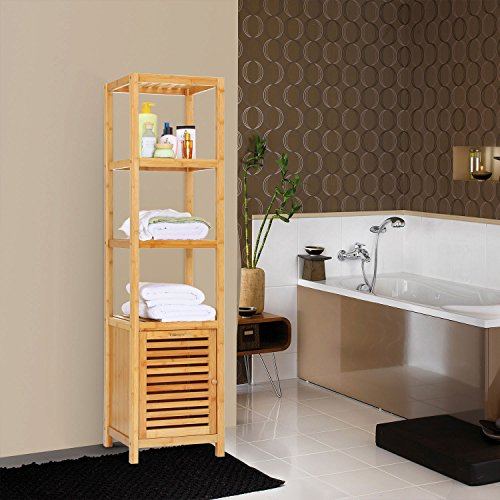 Ollieroo Bathroom Bamboo Utility Shelving Rack - Multi Functional 4 Tier Design | Top Home Design