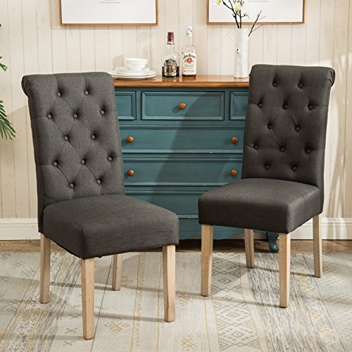 Roundhill-Furniture-C161CC-Habit-Solid-Wood-Tufted-Parsons-Dining-Chair-Set-of-2