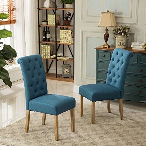 Blue - Round hill Furniture Habit-Solid-Wood-Tufted-Parsons-Dining-Chair-Set
