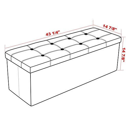 Admirable Songmics 43 Faux Leather Folding Storage Ottoman Bench Pabps2019 Chair Design Images Pabps2019Com
