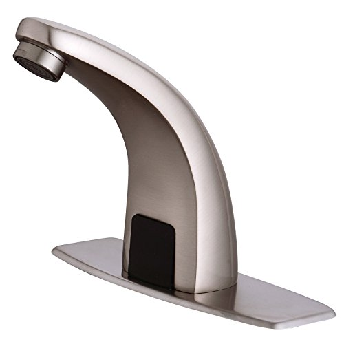 No-Touch faucet, touchless bathroom faucet, Automatic-Sensor-Touchless-Bathroom-Sink-Faucet-with-Hole-Cover-Deck-Plate