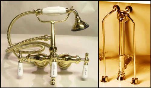 Brass-Clawfoot-Tub-Faucet-with-Handshower-Drain-Supply-Lines
