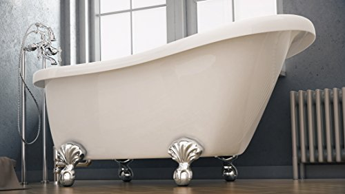 Brookdale-Collection Clawfoot-Tub-with-Vintage-Slipper-Tub-Design-in-White