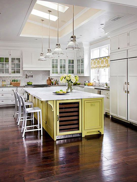 Yes I love this yellow kitchen Island design with the wine chiller in it simple work space with seating lots of extra kitchen counter space & home style kitchens with island