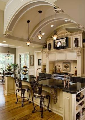 Here is a great example 130 kitchen island design ideas photo show beautiful dark granite counter tops are.love the  kitchen Island bar-chairs