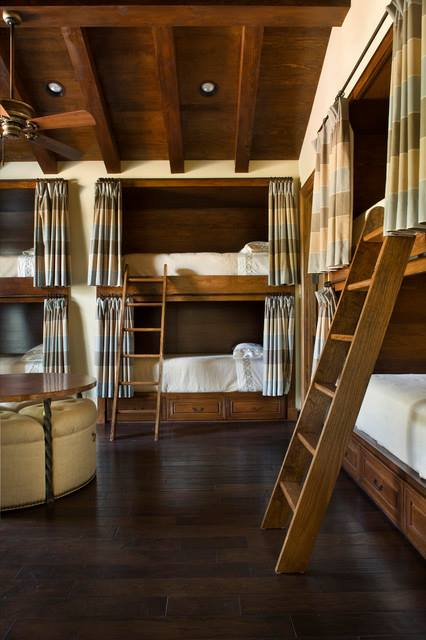 Rustic Guest Room with Bunk Beds