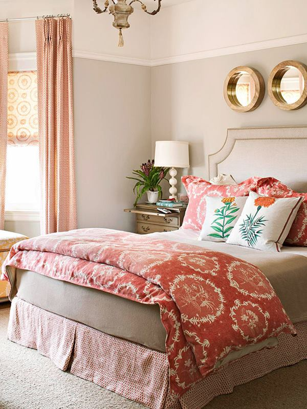 "Bedroom Incorporating the Color Trend for 2019 ""Living Coral"""