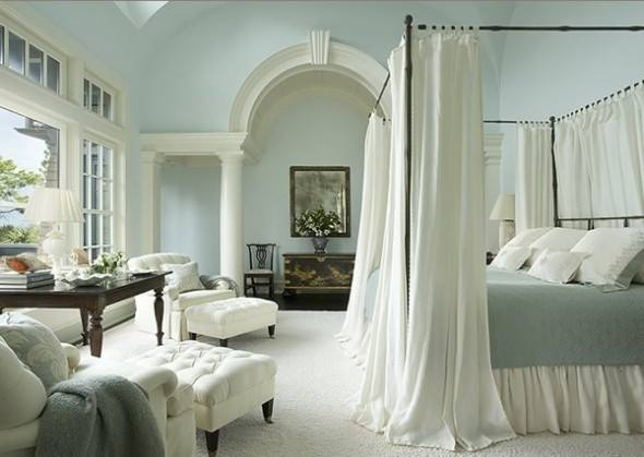 Mediterranean style bedroom with is sheers and light colors