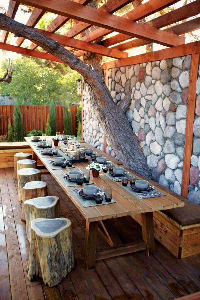 DIY   Ideas For Your Backyard Furniture  with wood boxes as benches Cedar Tree Blocks as Chairs and a table made from 2x4 and 4x4 lumber