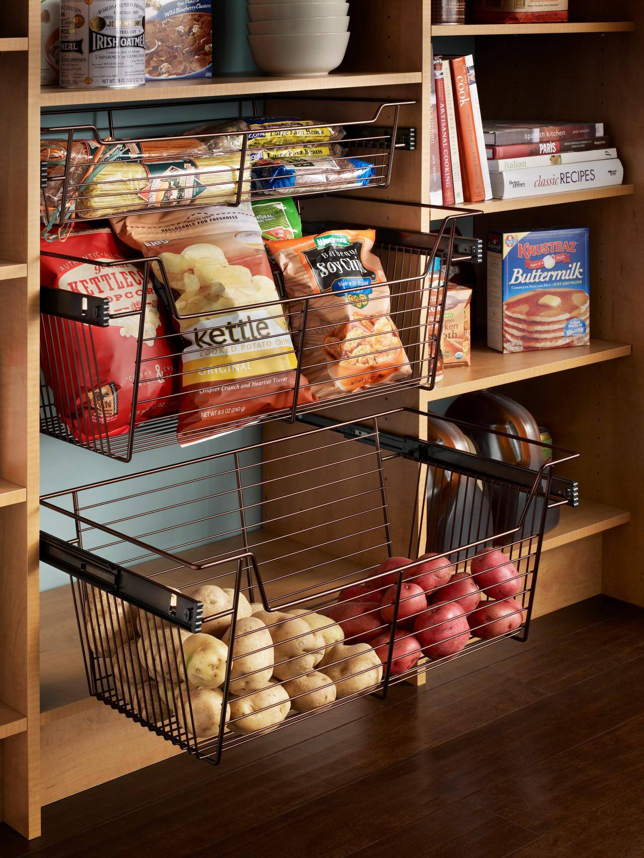 cool kitchen hack -- bulk products that have a longer life time, such as potatoes and onions. If this is too much country for your taste use the crates as pull-out inside your cabinetry.
